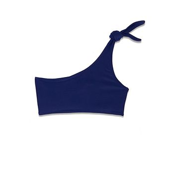 Saturn Knotted One Shoulder Bikini Top - Lapis Blue