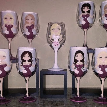 Personalized,  Bridesmaid, Bride Wedding Wine Glasses,  3-D Boobs, Custom Bridal Party  Champagne glasses,  Flower Girl,  Maid of Honor Gift
