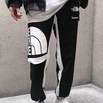 Supreme X The North Face Fashion Edgy Logo Print Sport Casual Pants Trousers