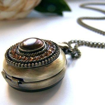 the tiger's eye pocket watch necklace by barberryandlace on Etsy