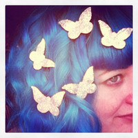 Butterfly Hair Adornments, Floating Hair Accessory, Glitter