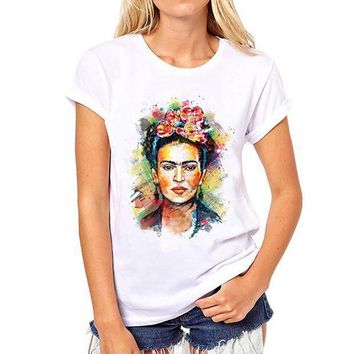 ESBO2N Frida Kahlo Print  Summer 2017 Casual T-Shirt Women Tops Harajuku White Loose Tshirt Short Sleeve T Shirt Femme