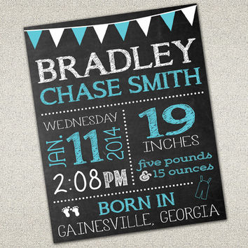 Baby Birth Announcement Sign | Photo Prop | Chalkboard SIgn | Birth Details | DIY Printable | 16X20