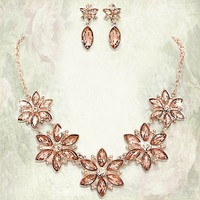 Quantity sets of five, Bridesmaids Necklace Sets, Crystal flower necklace