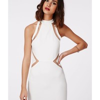 Missguided - Cori Mesh Racer High Neck Bodycon Dress White