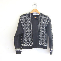 vintage black and white sweater. cable knit cardigan. preppy cardigan sweater. double breasted sweater