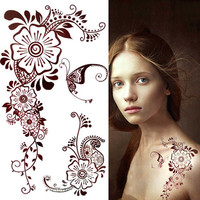 1 Sheet Waterproof Temporary Mehandi Henna Tattoo Stickers Henna Body Art Decals 3D Paper Tattoo Sticker