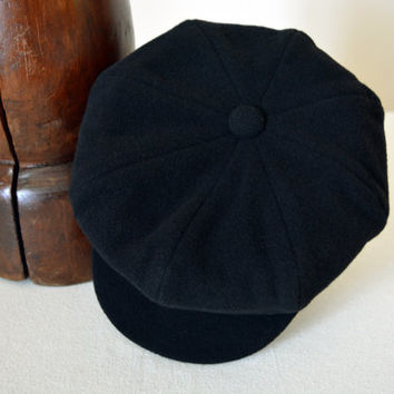 Black Newsboy Cap - Pure Wool Velour Handmade Eight Piece / Bakerboy / Apple / Newsboy / Flat Cap - Men Women