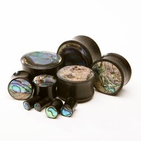 "Ebony Wood Plugs inlayed with Abalone - 4g, 2g, 0g, 00g, 7/16"", 1/2"", 9/16"", 5/8"", 3/4"", 7/8"