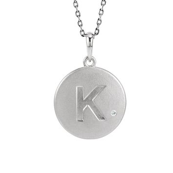 The Emma Sterling Silver Diamond Accent Block K Disc Necklace, 18 Inch