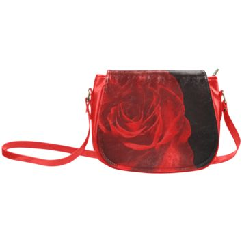 Women Shoulder Bag A Rose Red Classic Saddle Bag Large