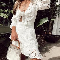 Embroidery Short Dress Women Sexy V Neck Hollow Out Cotton Casual Holiday Lace up Dress