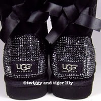 Bling Uggs made with Swarovski Crystals - rhinestone Bailey Bow Uggs in Jet Hematite Crystals