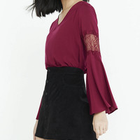 Berry Lace Inset Bell Sleeve Top from EXPRESS