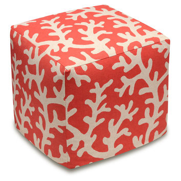 Coral Linen Ottoman, Red, Ottomans