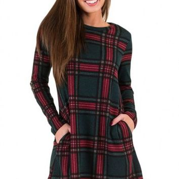 Contrast Elbow Patch Plaid Swing Long Sleeve Dress