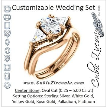 CZ Wedding Set, featuring The Prisma engagement ring (Classic Three-Stone Triangle Accent and Oval Cut center)