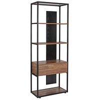 Cumberland Collection Bookshelf with Drawer and Shelves in Rustic Wood Grain Finish