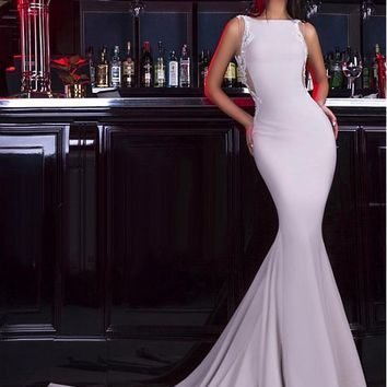 [125.99] Alluring Spandex Bateau Neckline Mermaid Evening Dresses With Beaded Lace Appliques - dressilyme.com