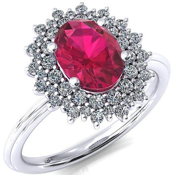 Eridanus Oval Ruby 4 Prong Diamond Cluster Halo Engagement Ring