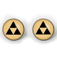 Handmade legend of Zelda Triforce earrings legend of Zelda Triforce post earring legend of Zelda Triforce arrings Jewelry, Gift
