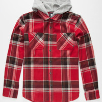 Element Woodland Flex Mens Hooded Flannel Shirt Red  In Sizes