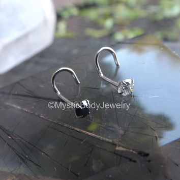 "Nose Ring Screw 20g Geniune .925 Sterling Silver 1/4"" Stud Black Clear Gemstone Post Tiny Small Dainty Hoop Body Jewelry Piercings Pierced"
