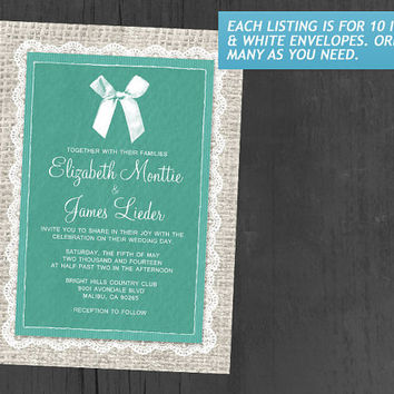 Turquoise Country Burlap Wedding Invitations | Invites | Invitation Cards
