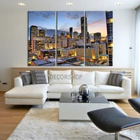 Canvas Prints Houston Night Landscape Canvas Print - 3 Panel Streched Giclee