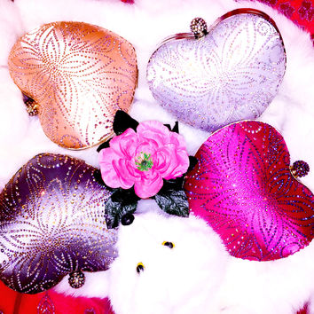 Heart Rhinestone Purses For Wedding