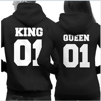 Fashion King Queen Hoodie Couple Pullover Sweatshirt Unisex Hoodies Causal Long Sleeve Crewneck Tracksuit For Men Women