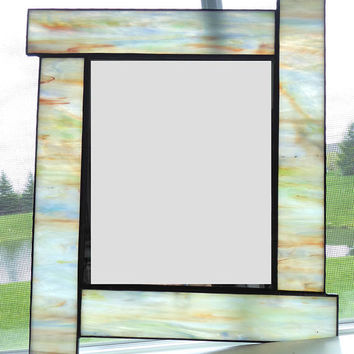 Pale stained glass wall mirror with opal colored glass, hang vertically or horizontally