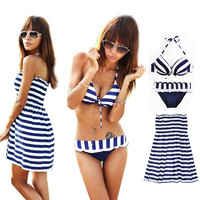 Summer Women's Cross Stripe Bikini Padded Beach Push Up 3-piece Swimwear Set VVF = 1932623684
