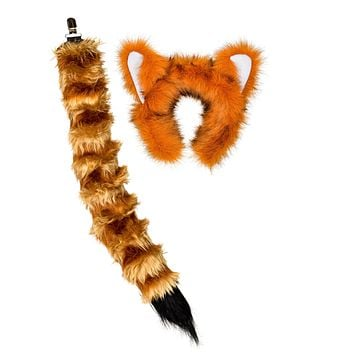 Plush Red Panda Ears Headband and Tail Set for Red Panda Costume, Cosplay, Pretend Animal Play or Safari Party Costumes