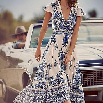 Sexy V Neck Maxi Boho Dress Floral Summer Beach Cocktail  Party Long Sundress