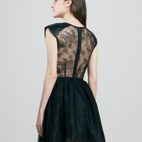 Alice + Olivia - Nelly Lace/Leather Mini Dress