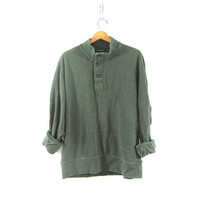 vintage slouchy sweater. oversized green sweater. henley pullover shirt. XL