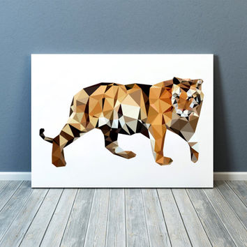 Tiger poster Wall decor Animal print Geometric art TOA59