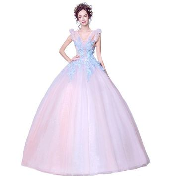 New Sweet Flower Long Evening Dress Romantic Fairy Pink Appliques V-neck Floor-length Prom Party Gowns