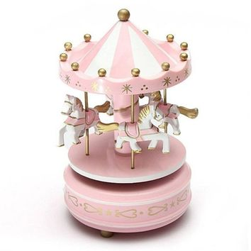 Round Wooden Music Box Toy