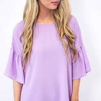 Purple Pansy Bell Sleeve Top