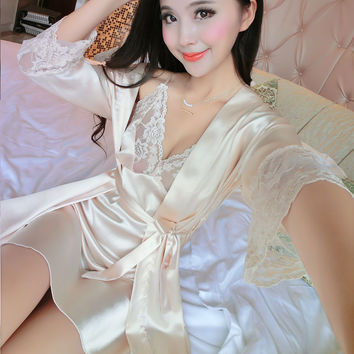 2017 New Summer Women Long Sleeve Silk Sleepwear Nightgown Set Temptation Sexy Robe & Nightdress Two Piece Lady Cute Sleepshirts