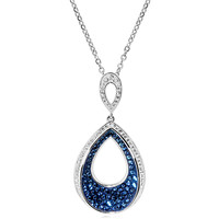 Blue & White Crystal In White Gold Plated Bronze Pear Drop Pendant-18""