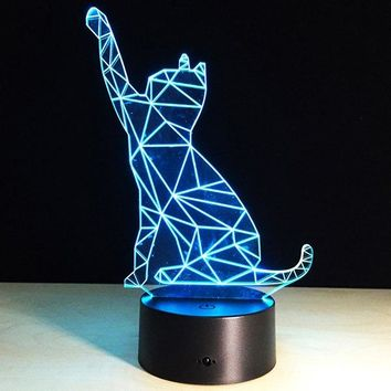 3D Beckon Cat Shape Touch Colorful Night Light