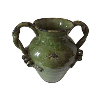 Pre-owned Green Pottery Vase with Twisted Handles