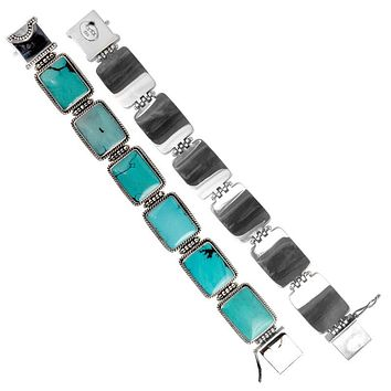 "SB-1103-TQ-7.5"" Sterling Silver Bracelet With Turquoise"