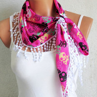 Skull print fringed scarf, pink, black, white, Skull scarves, Woman Scarves, Summer Scarves, Girl Scarf, Turkish Fabric Fringed Guipure