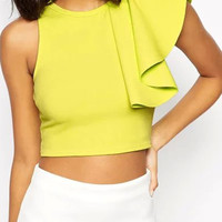 Apple Green Ruffle Sleeveless Crop Top