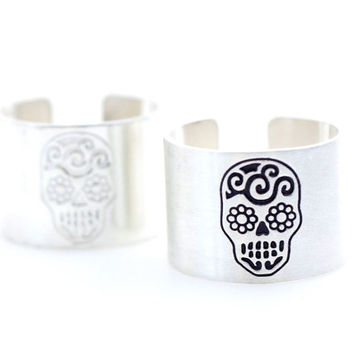 """925 sterling silver Stacking Wide and Thick """"Skull"""" engrave Ring Band -Cuff ring, tube ring, knuckle ring"""