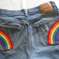 "Rainbow pocket jeans/upcycled jeans/unisex jeans/upcycled Levi's 501 jeans/waist 33"" length 34""/hippie rainbow jeans"